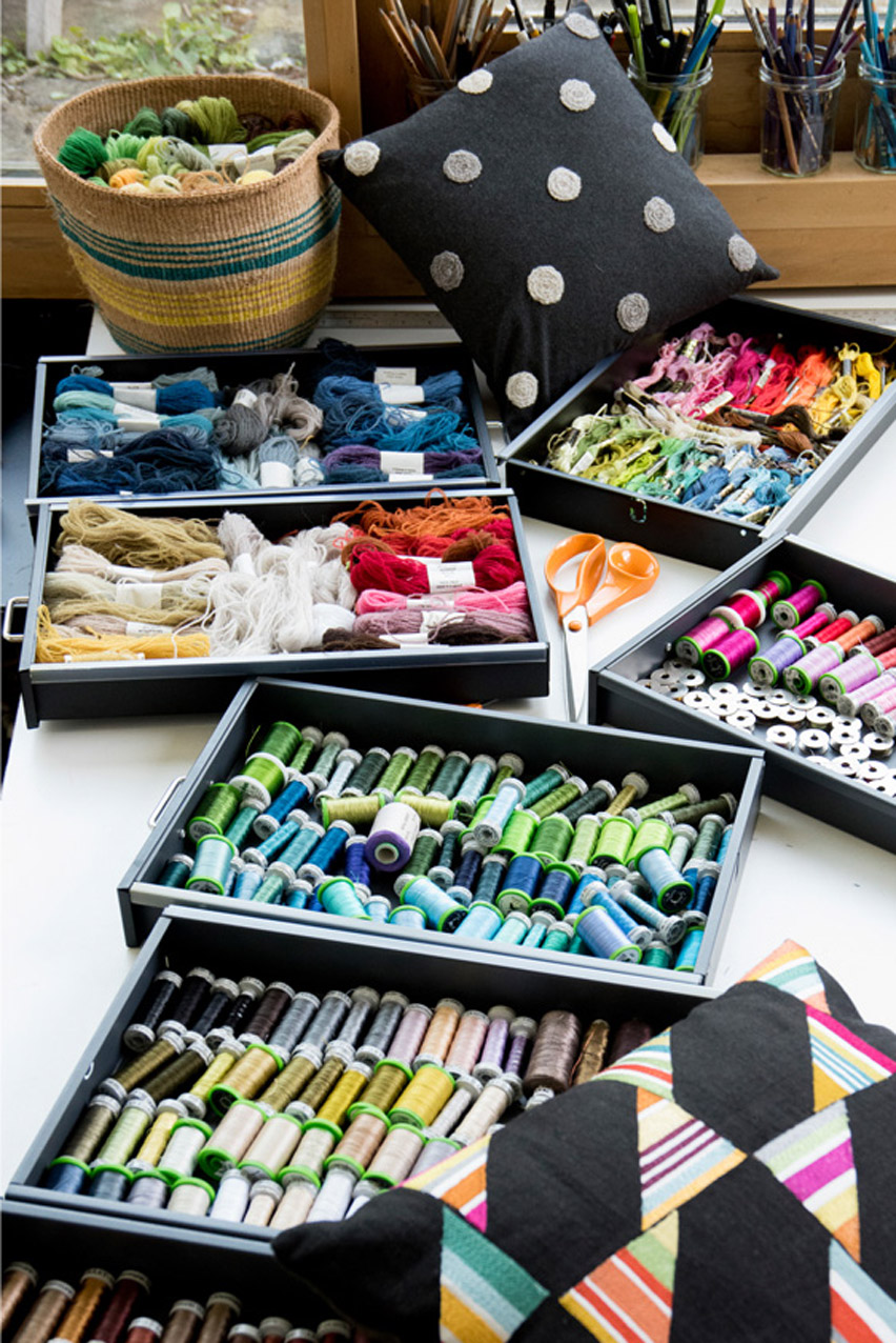 Drawers of embroidery threads in the studio.
