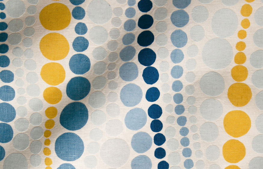 © Sarah King, design sold by First Eleven Studio. Hand dyed linen applique on linen ground.