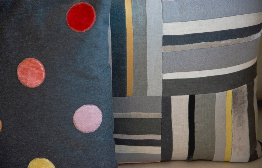 Designs using individually dyed velvets, linen and silks.